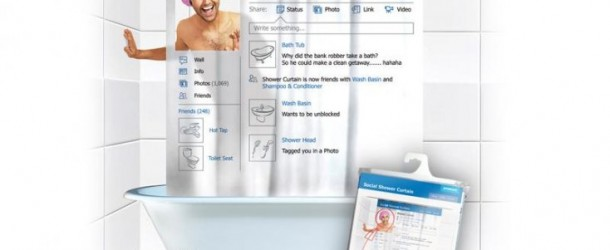 Facebook in the Shower with the Social Shower Curtain